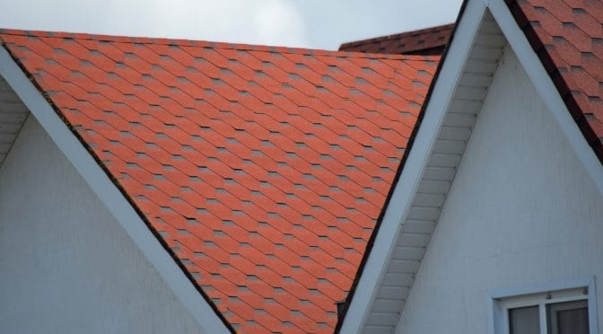 Roof shingles closeup