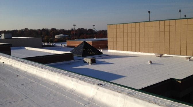 Coated commercial roof