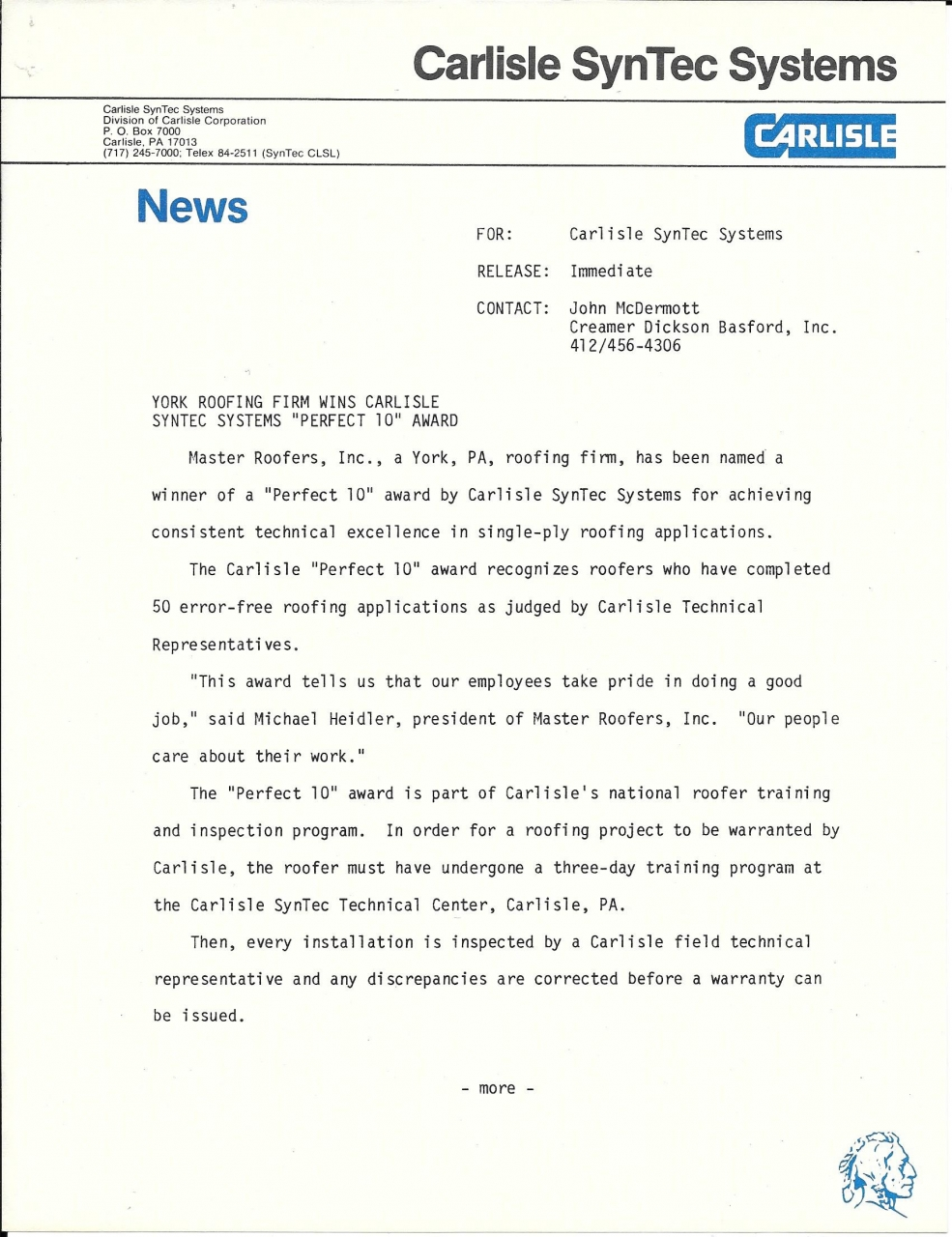 1986 Press Release Page 1
